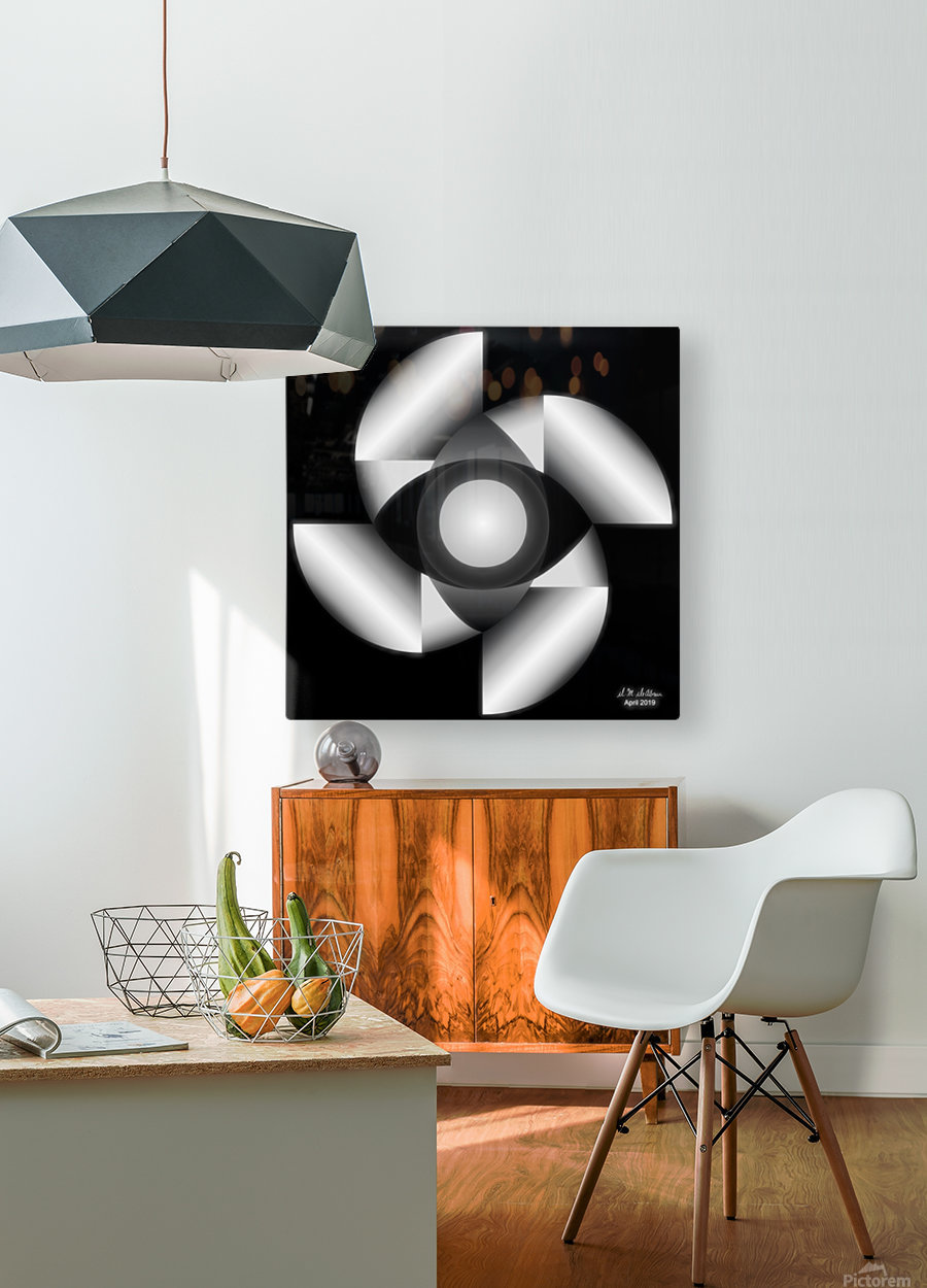 1-Golden Ratio B&W  HD Metal print with Floating Frame on Back