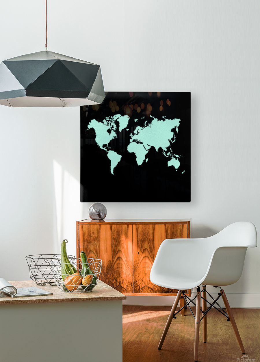 TURQUOISE SHADE WORLD MAP  HD Metal print with Floating Frame on Back