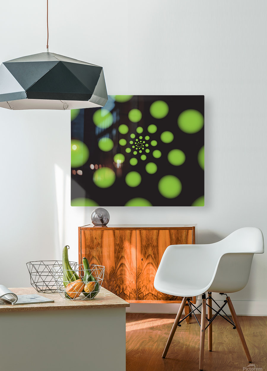 Green Spiral Dots  HD Metal print with Floating Frame on Back