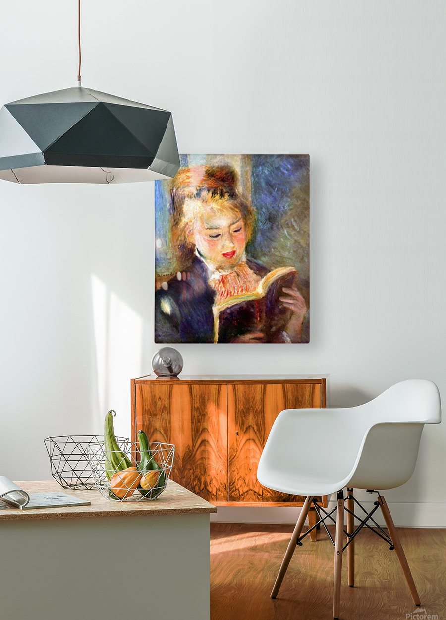 A reading girl1 by Renoir  HD Metal print with Floating Frame on Back