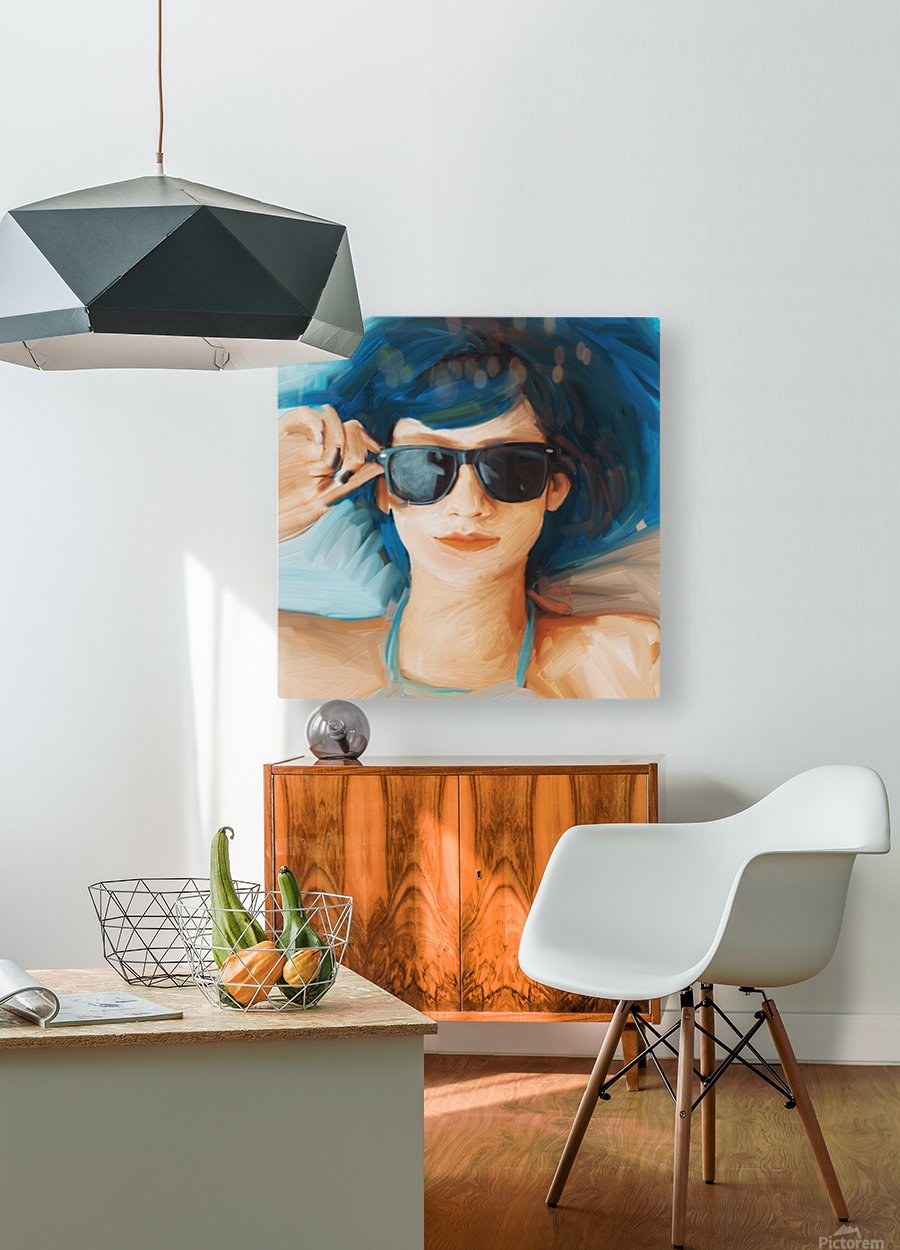 Blue Hair  HD Metal print with Floating Frame on Back