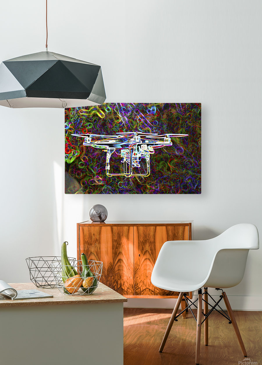 Colorful Quad Copter  HD Metal print with Floating Frame on Back