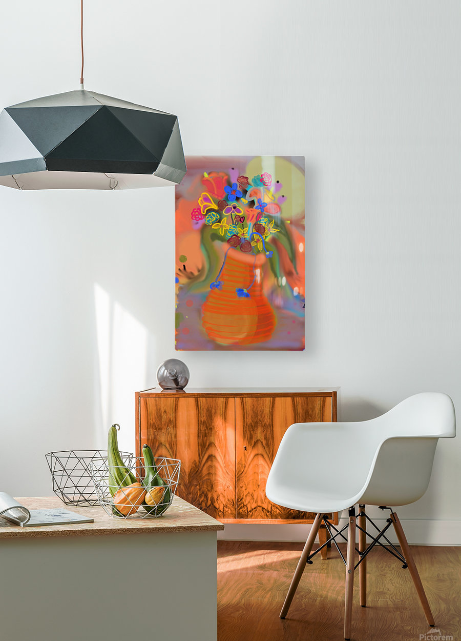 three vases (12)  HD Metal print with Floating Frame on Back