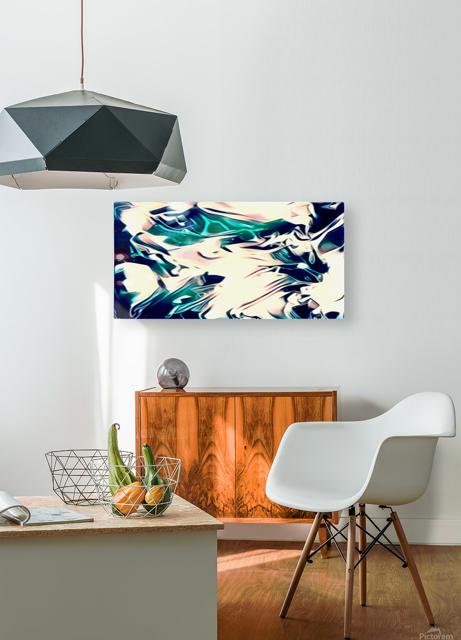 Crystal Spine - green white blue multicolor abstract swirl wall art  HD Metal print with Floating Frame on Back