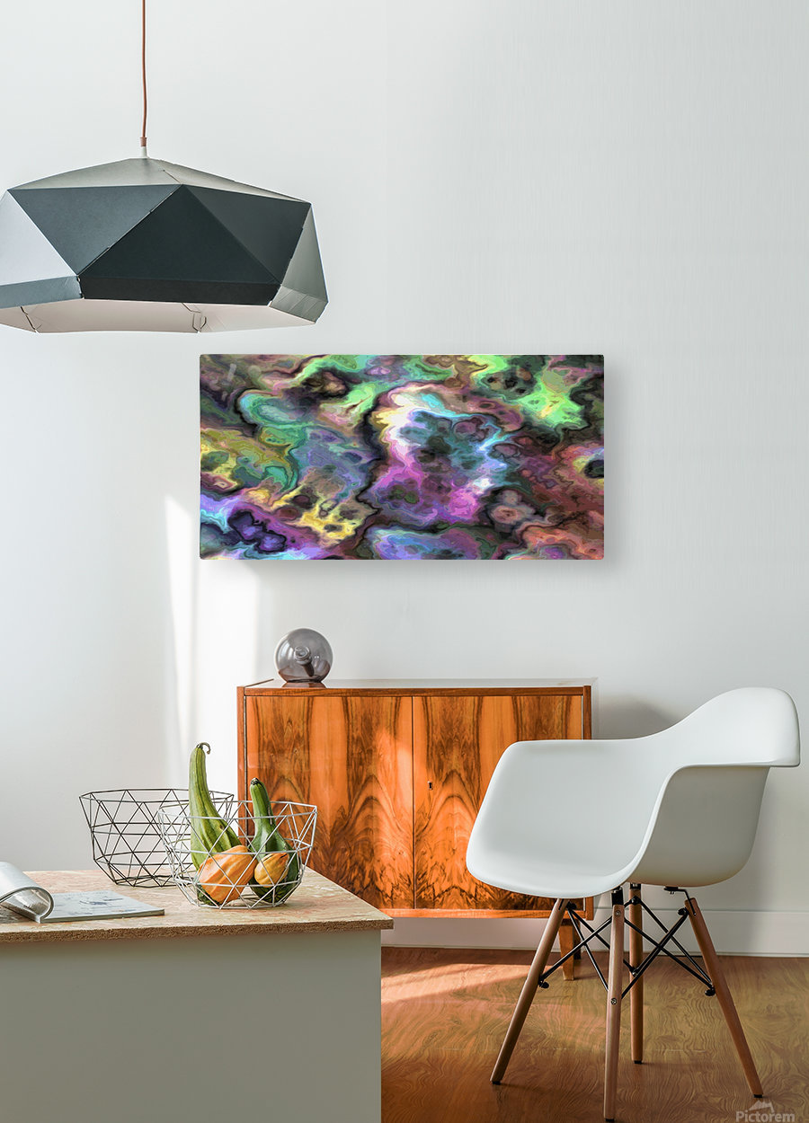 Dark Rainbow Marble multicolor abstract pattern wall art  HD Metal print with Floating Frame on Back