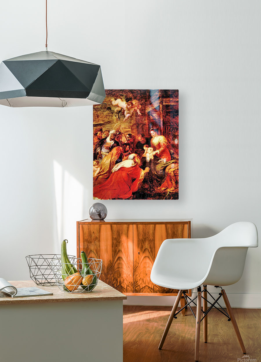Adoration of the Magi by Rubens  HD Metal print with Floating Frame on Back