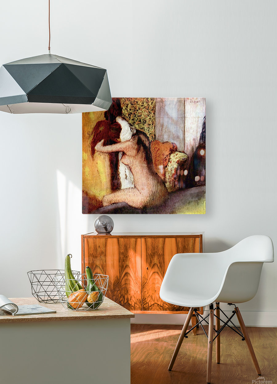 After bathing 2 by Degas  HD Metal print with Floating Frame on Back