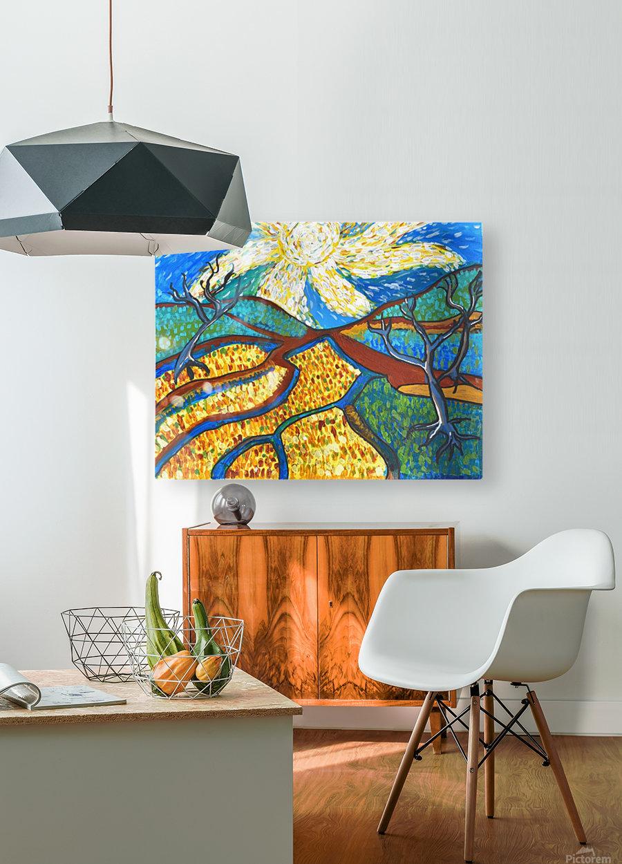 Jana A. Trees in the Sun  Impression métal HD avec cadre flottant sur le dos