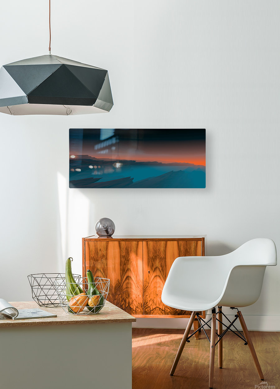 Sunset in the Mountains 3  HD Metal print with Floating Frame on Back