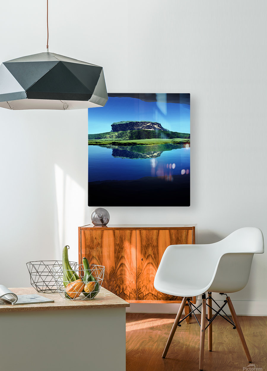 Distant Plateau  HD Metal print with Floating Frame on Back