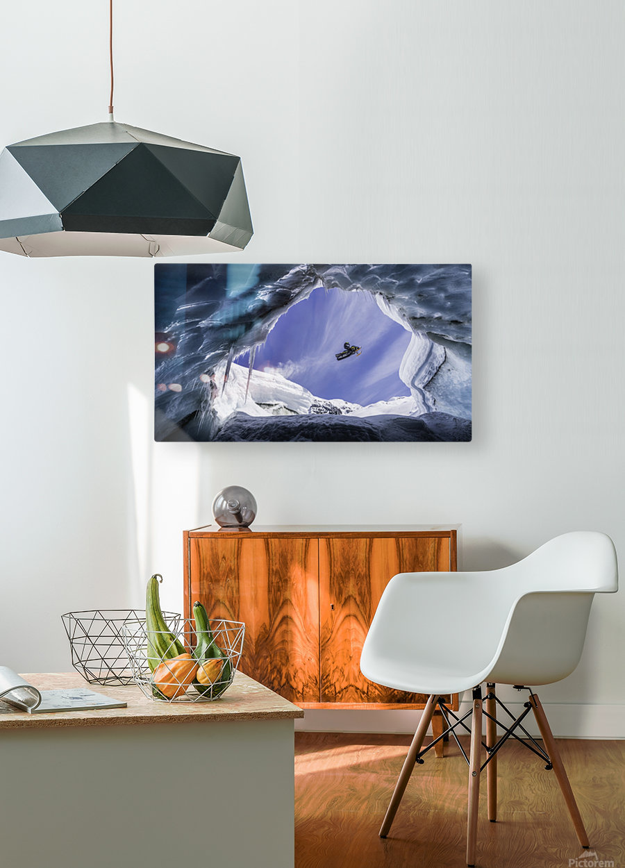Crevasse Jump  HD Metal print with Floating Frame on Back