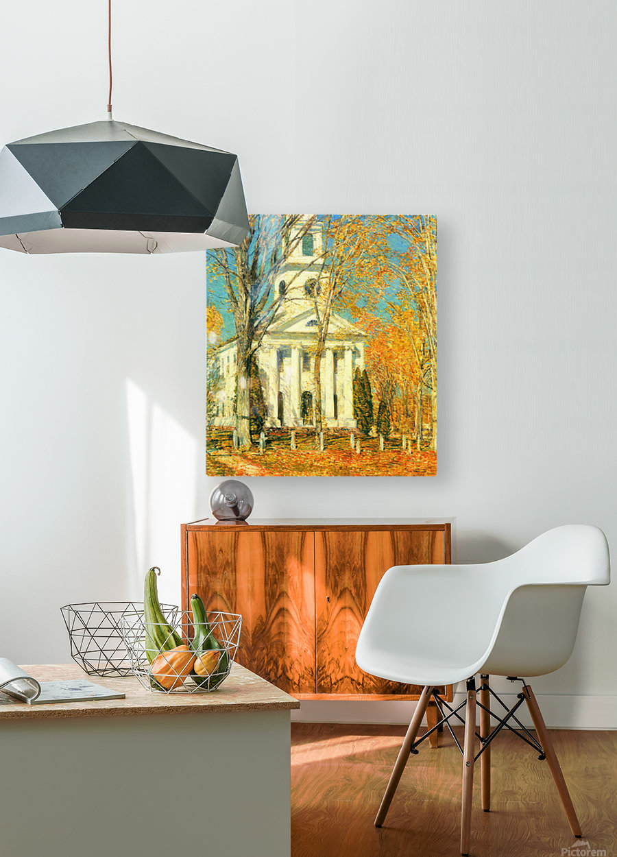 The Church of Old Lyme, Connecticut -2- by Hassam  HD Metal print with Floating Frame on Back