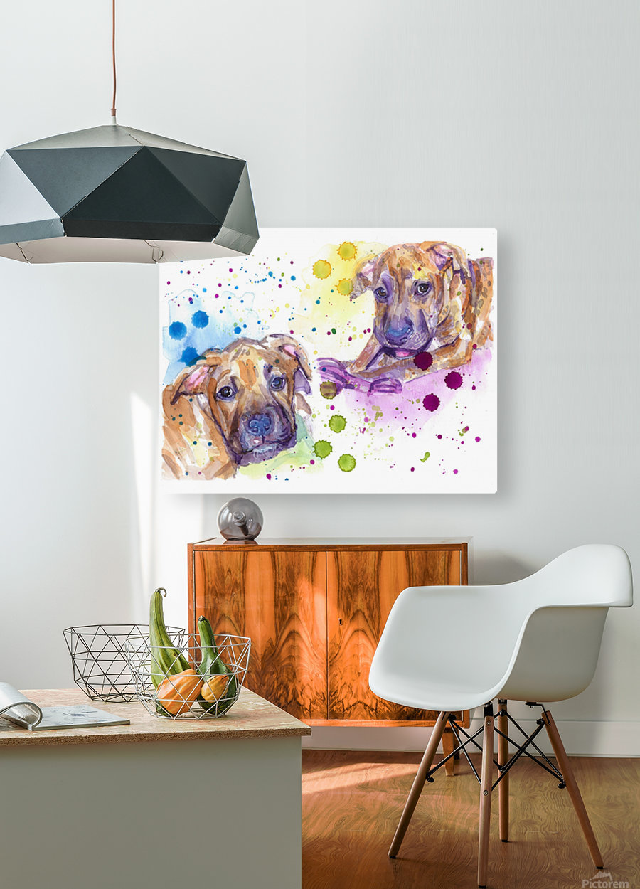 2 Colorful Dogs Brindle - Portrait of Emma and Louis  HD Metal print with Floating Frame on Back