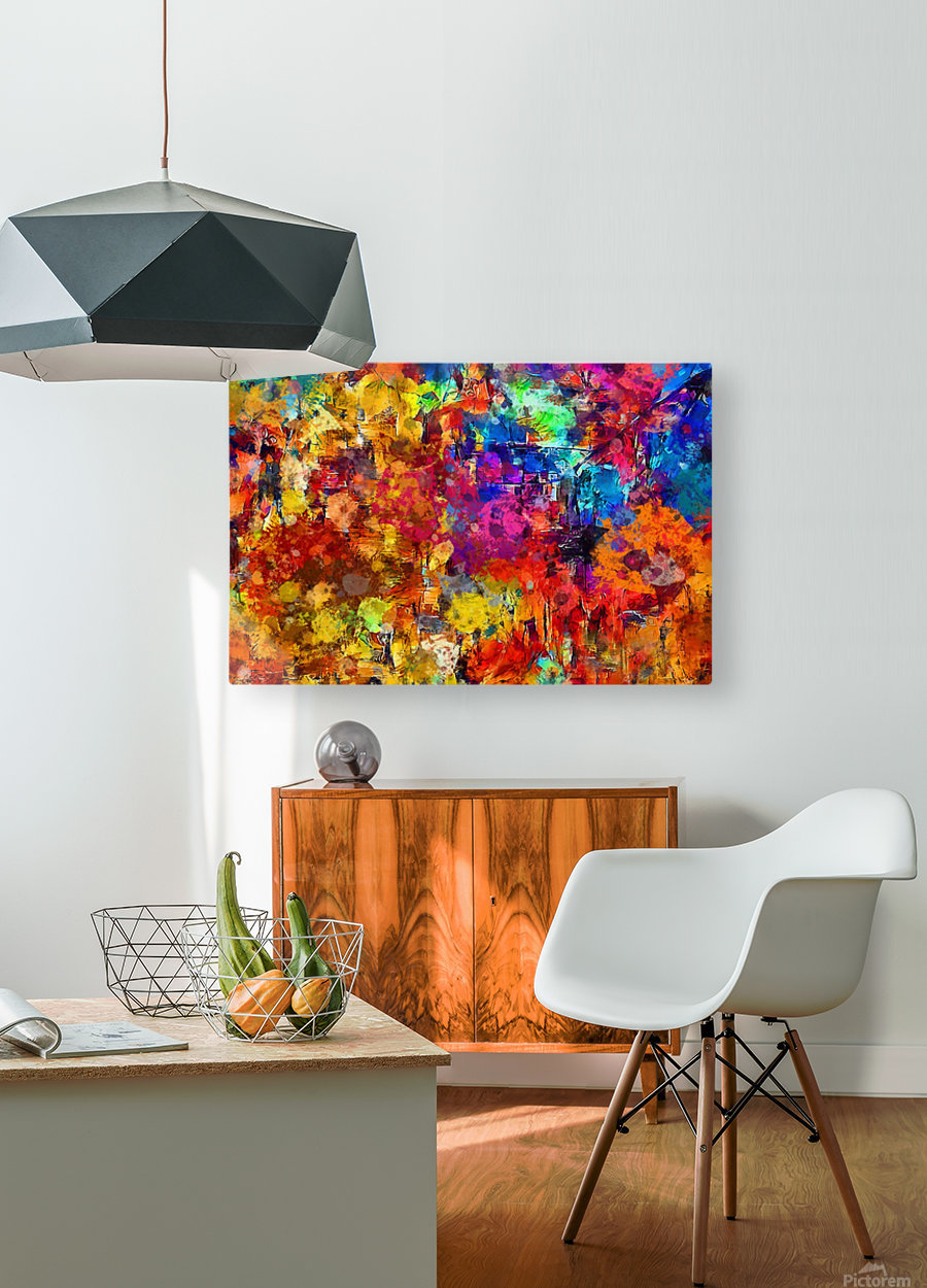 Autumn Leaves Abstract   HD Metal print with Floating Frame on Back