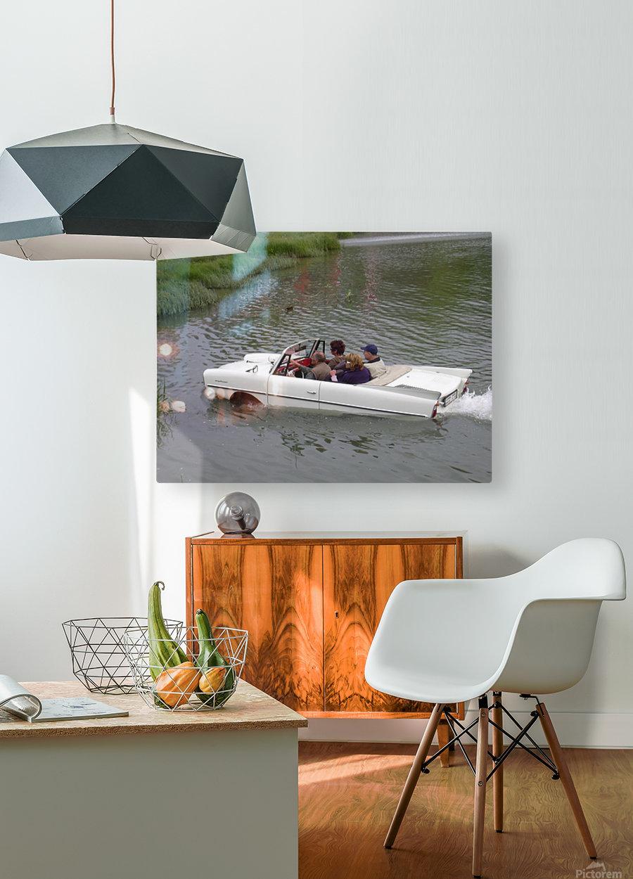 Amphicar model Unique amphibious model car  HD Metal print with Floating Frame on Back
