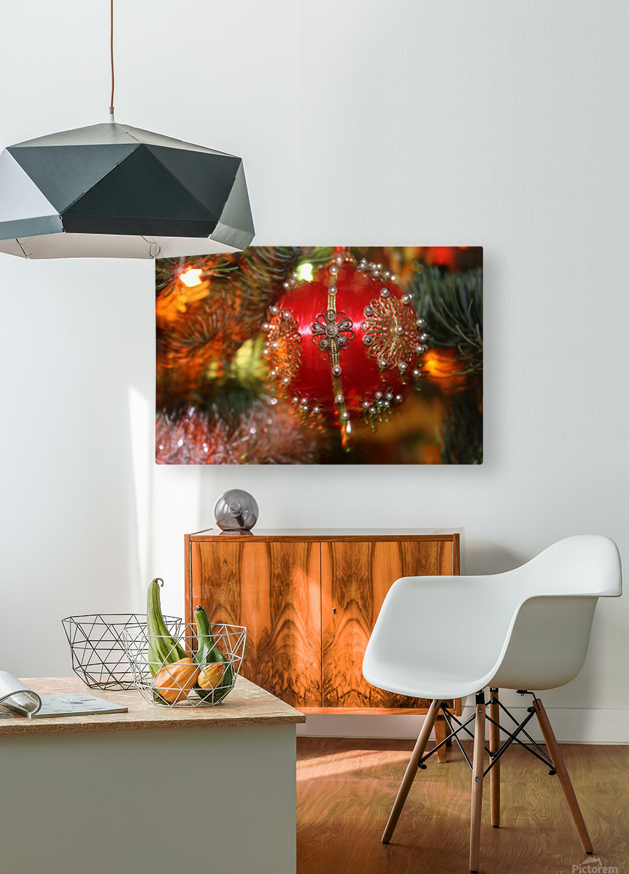 Festive Christmas holiday background with Santa Claus presents and tree.  HD Metal print with Floating Frame on Back