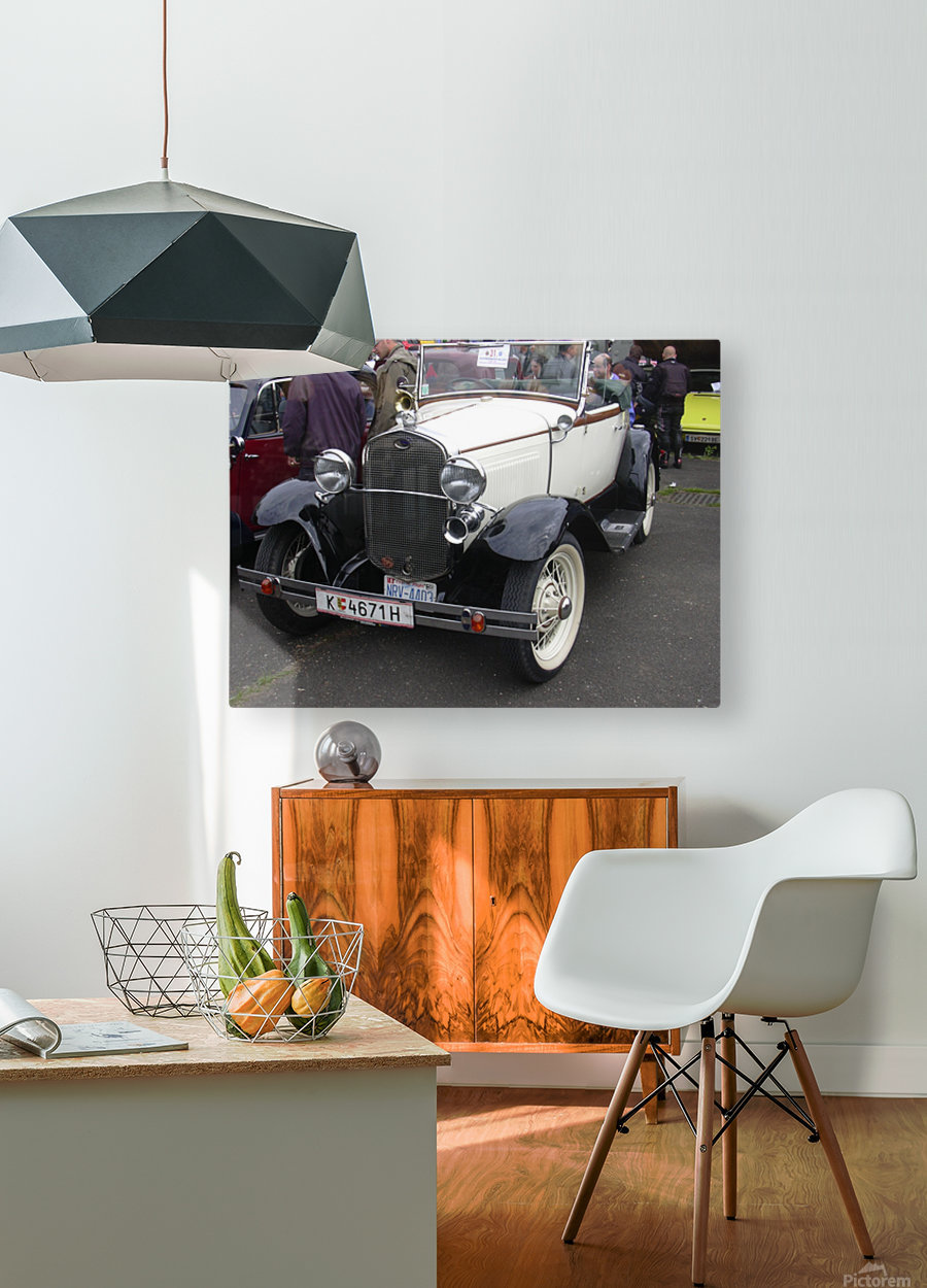 Vintage car in italian exposition  HD Metal print with Floating Frame on Back