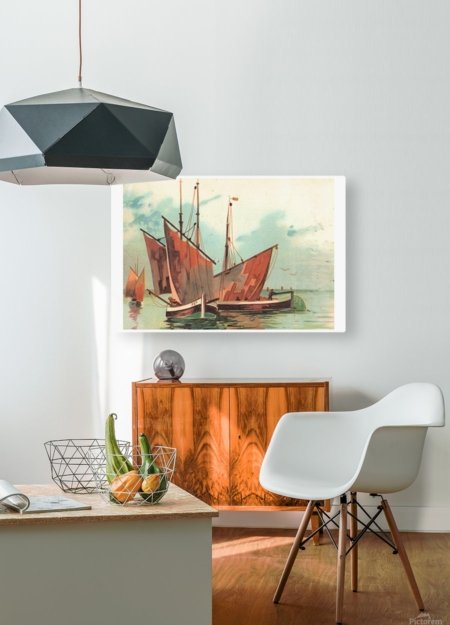 Greeting card Sailing boats  HD Metal print with Floating Frame on Back