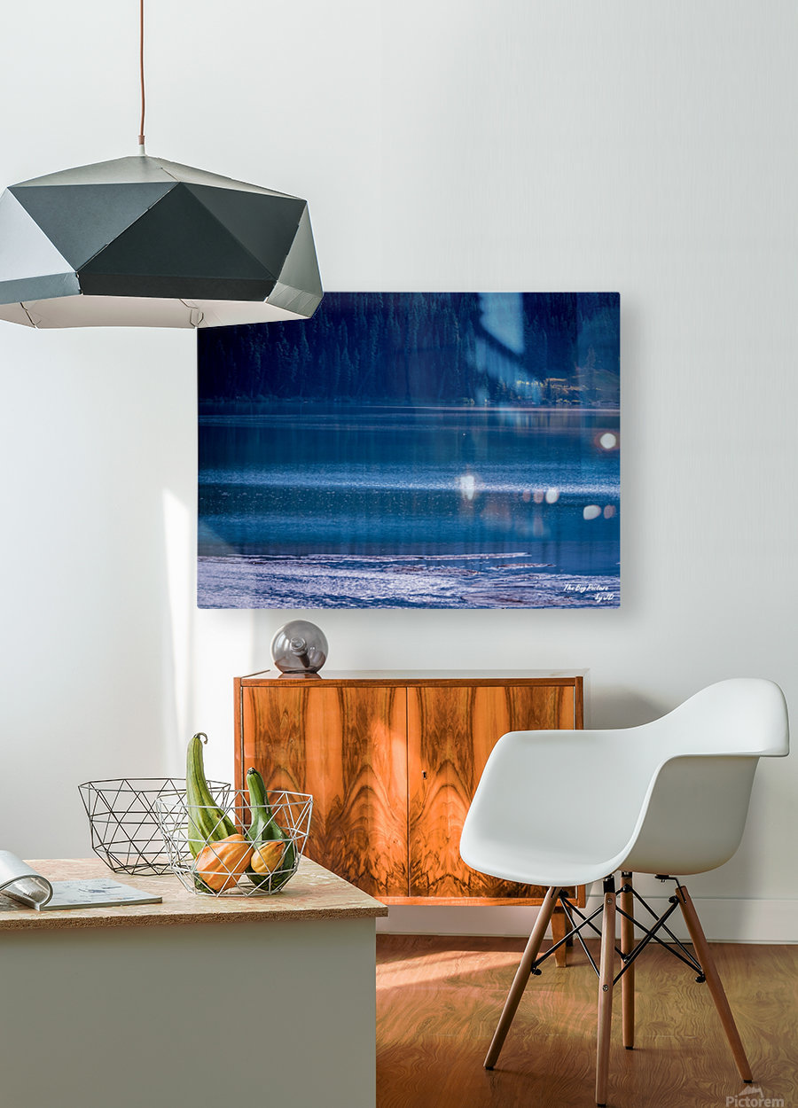 Rocky Mountains Deep Blue  HD Metal print with Floating Frame on Back