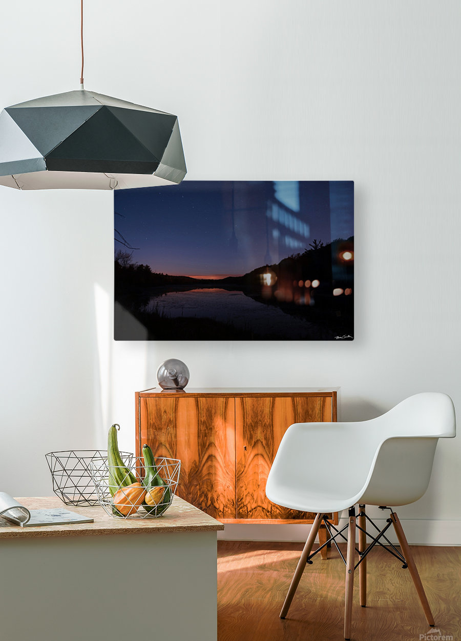 Starlit Pond  HD Metal print with Floating Frame on Back