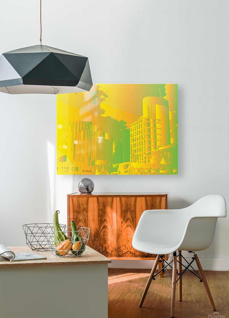 Abstract Building Minneapolis Skyline  HD Metal print with Floating Frame on Back