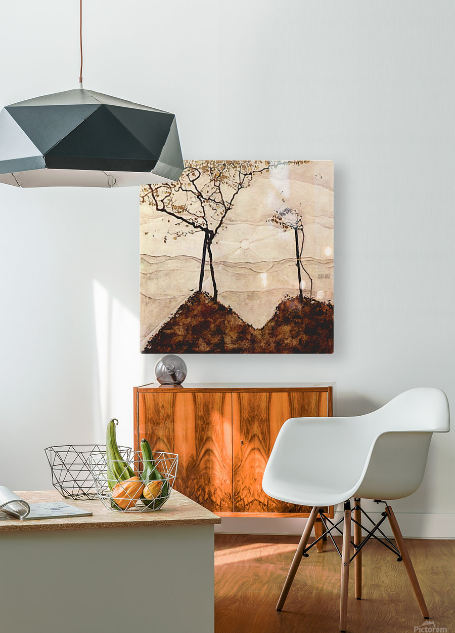 Autumn sun and trees by Schiele  HD Metal print with Floating Frame on Back