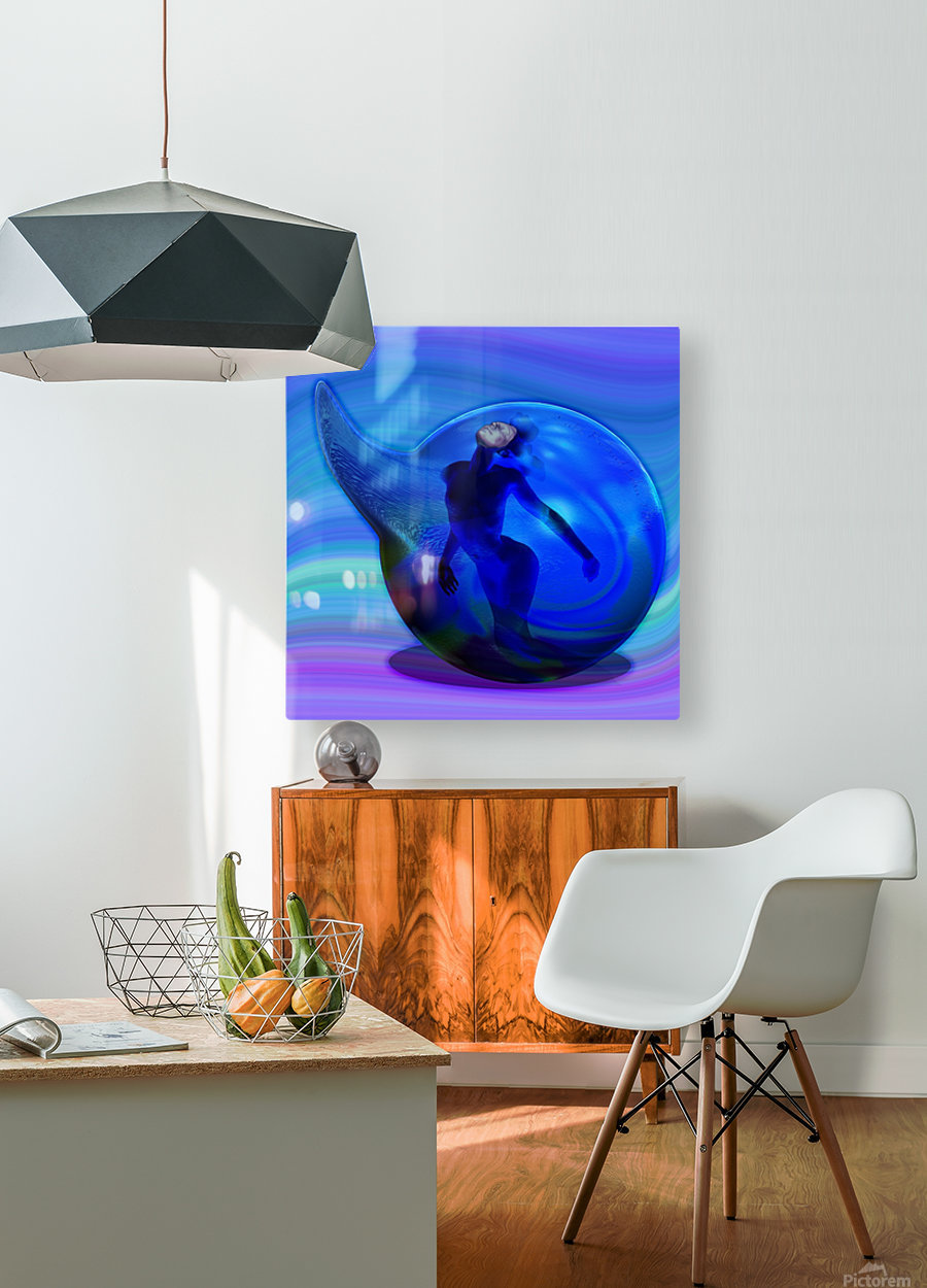 The Birth of Marmaid   HD Metal print with Floating Frame on Back