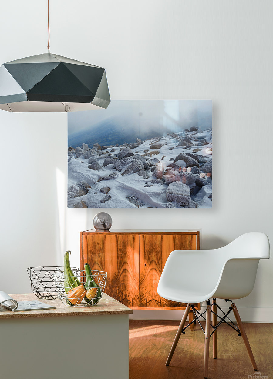 Mountainside with Snow-covered Rocks  HD Metal print with Floating Frame on Back