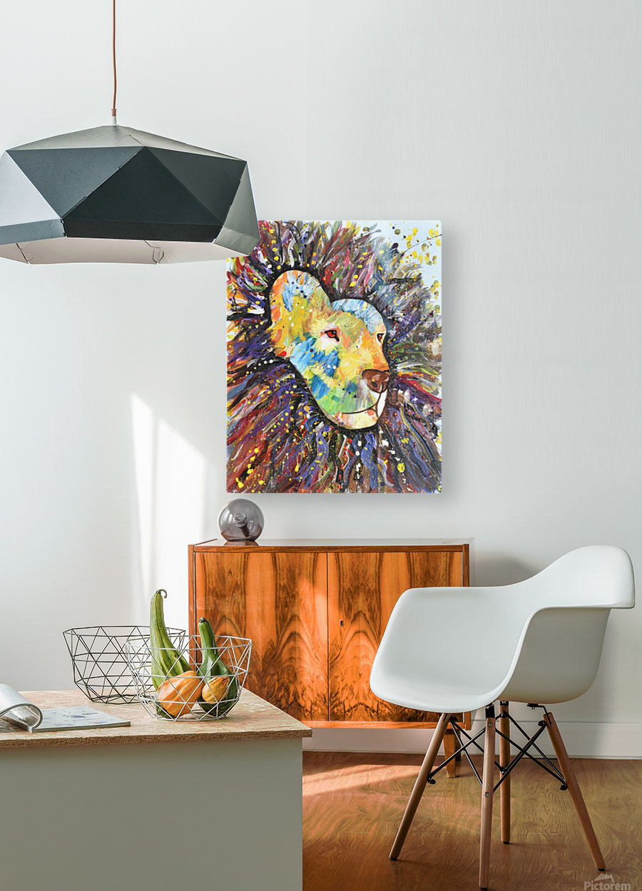 Lively Lion.Maggie Z  HD Metal print with Floating Frame on Back
