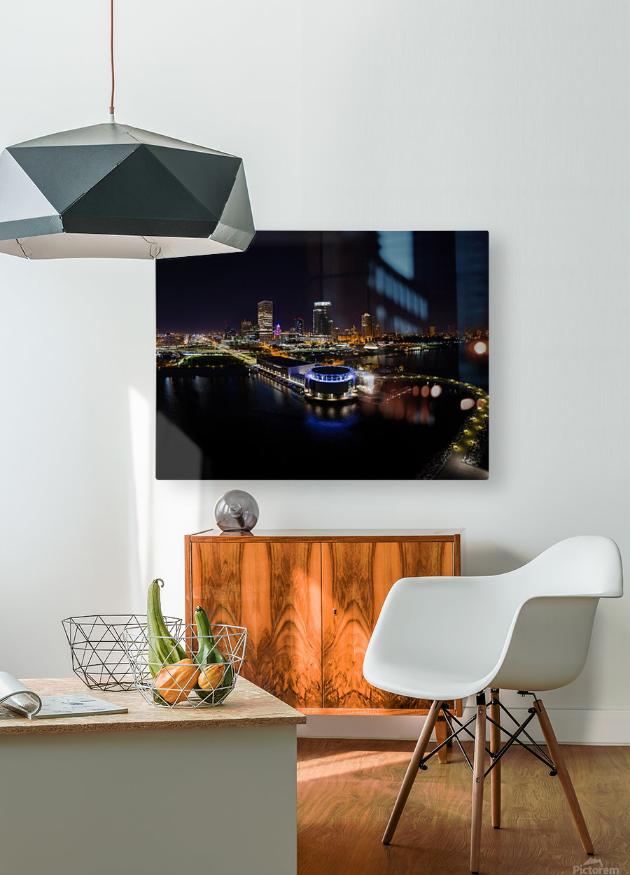 Milwaukee Circle of Lights  HD Metal print with Floating Frame on Back