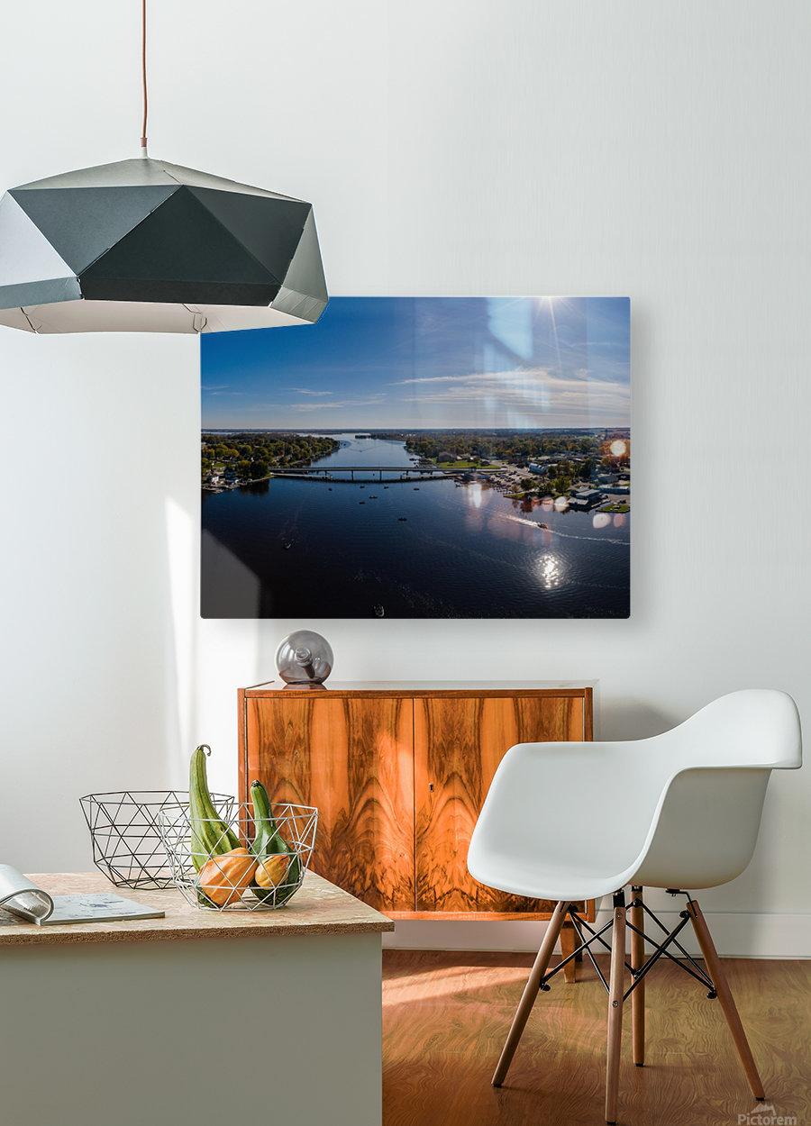 Bridges to Winneconne  Impression métal HD avec cadre flottant sur le dos