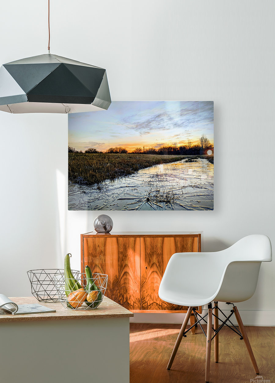 Frosted Ice at Dawn  HD Metal print with Floating Frame on Back