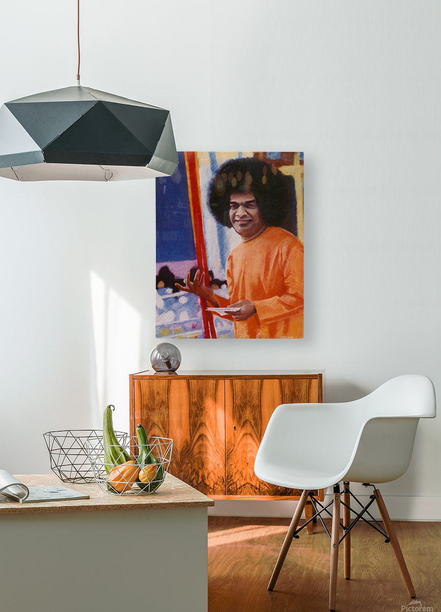 Sathya Sai Baba  HD Metal print with Floating Frame on Back