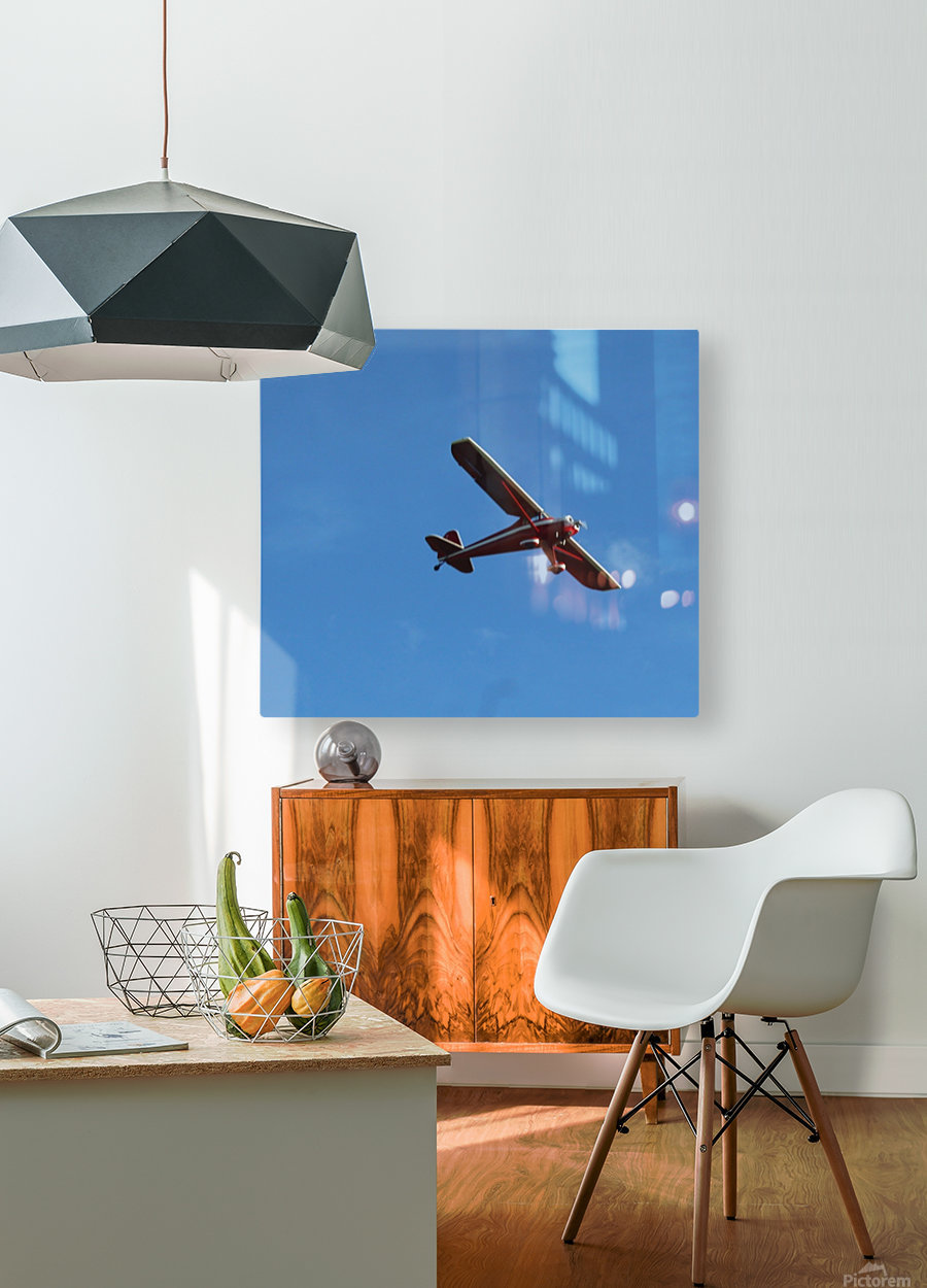 Flyover the  Prairie  HD Metal print with Floating Frame on Back