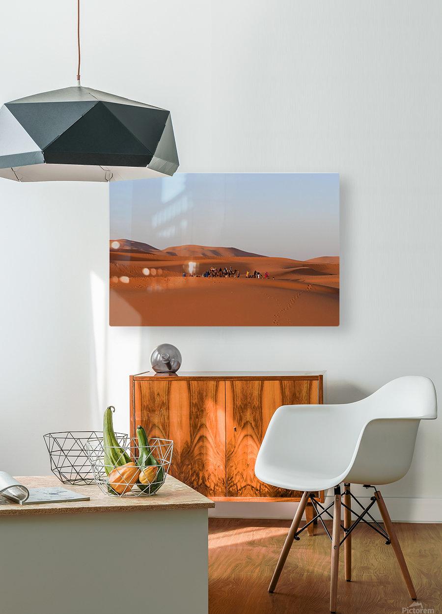 Merzouga sunrise  Impression métal HD avec cadre flottant sur le dos