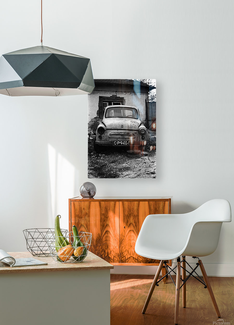 Abandoned ZAZ 965  USSRs replica of FIAT 600  HD Metal print with Floating Frame on Back
