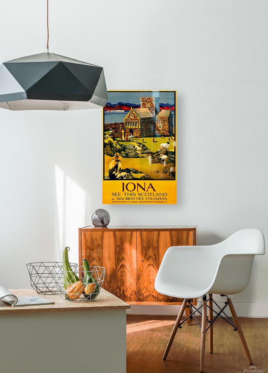 Vintage Travel - Iona Scotland  HD Metal print with Floating Frame on Back