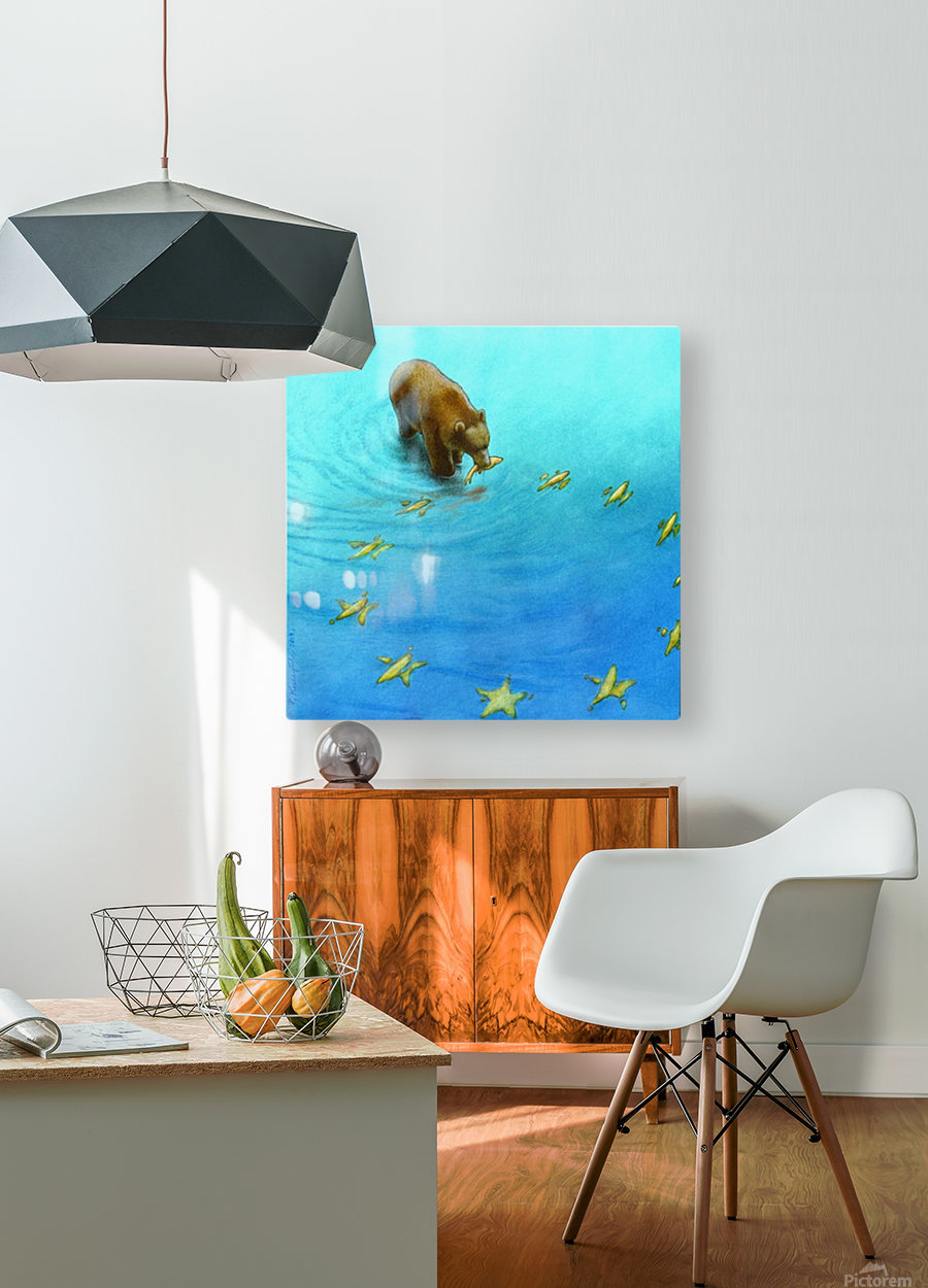 gold fishes  HD Metal print with Floating Frame on Back