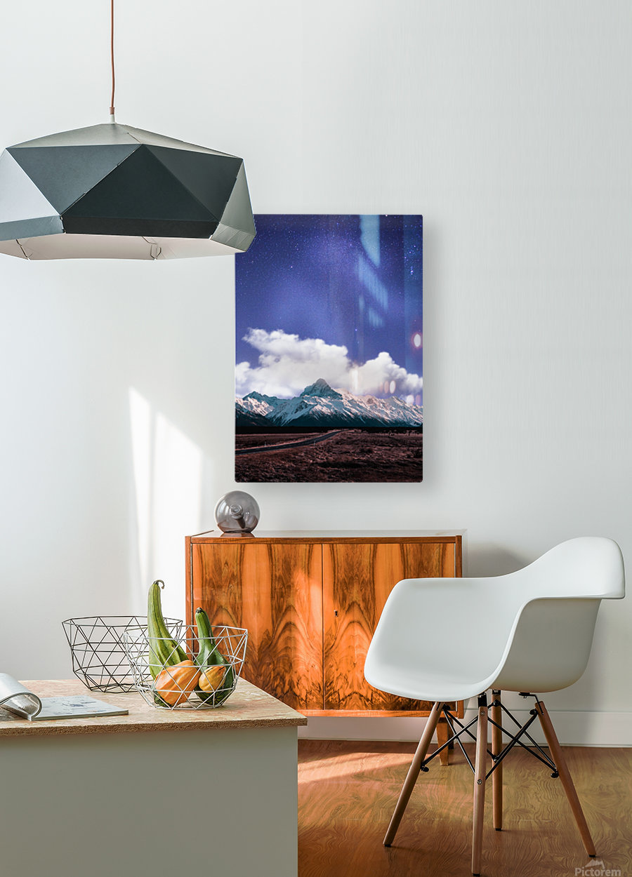 Blue Sky Over The Mountain  HD Metal print with Floating Frame on Back