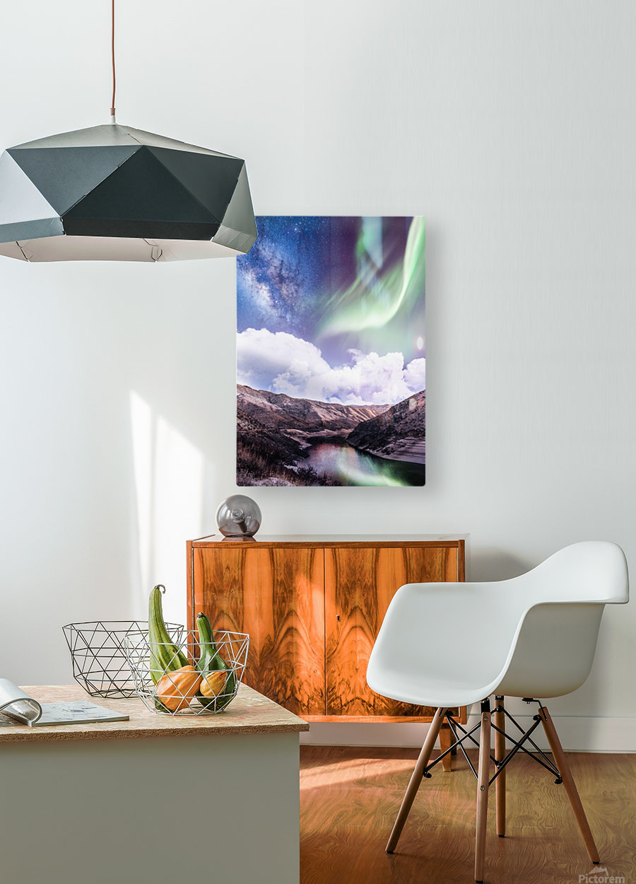 Aurora Borealis And Milky Way  HD Metal print with Floating Frame on Back
