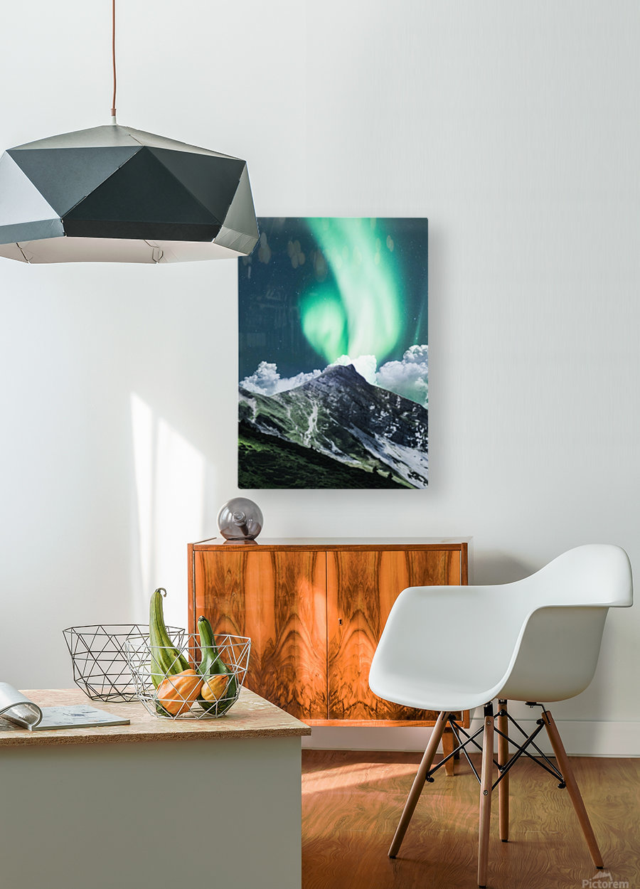 Aurora Borealis Over The Mountain  HD Metal print with Floating Frame on Back