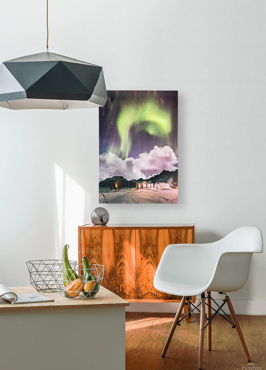 Aurora In The Winter  HD Metal print with Floating Frame on Back