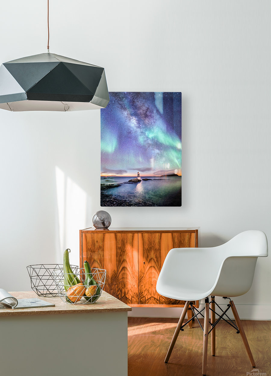 Aurora And Milky Way   HD Metal print with Floating Frame on Back