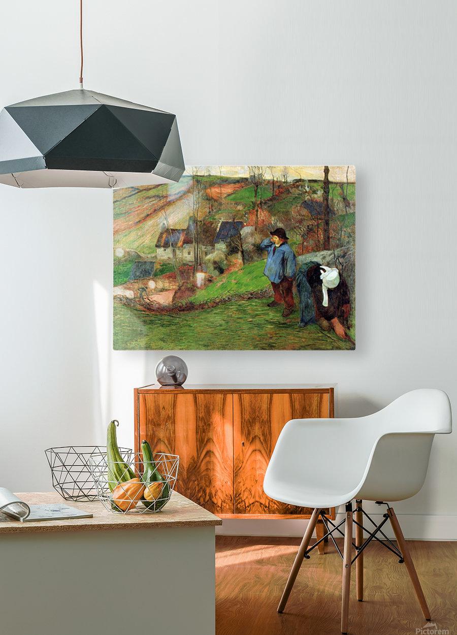 Breton Shepherd by Gauguin  HD Metal print with Floating Frame on Back