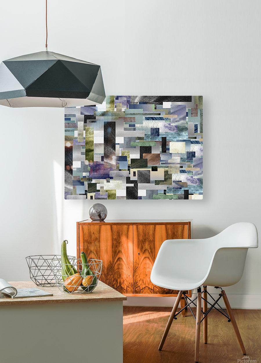 Gray Geometry Watercolor Geometrics Decorative Blocks XIV  HD Metal print with Floating Frame on Back