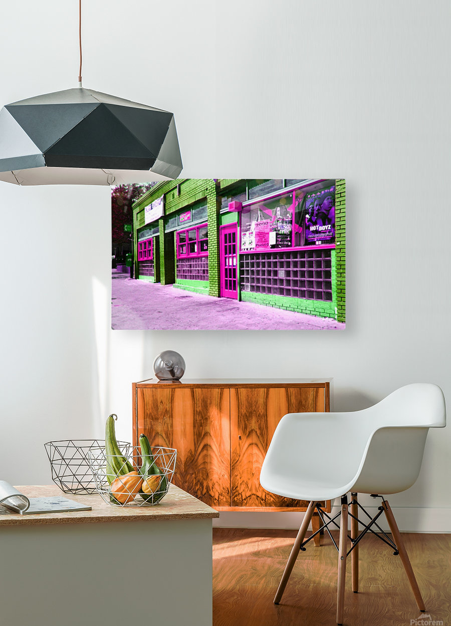 Atlanta Street Scene -- Fuchsia & Lime  HD Metal print with Floating Frame on Back