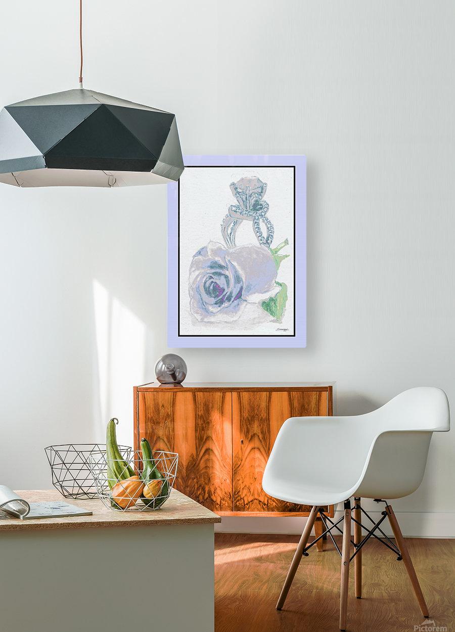 Blue Bud in Frame  HD Metal print with Floating Frame on Back