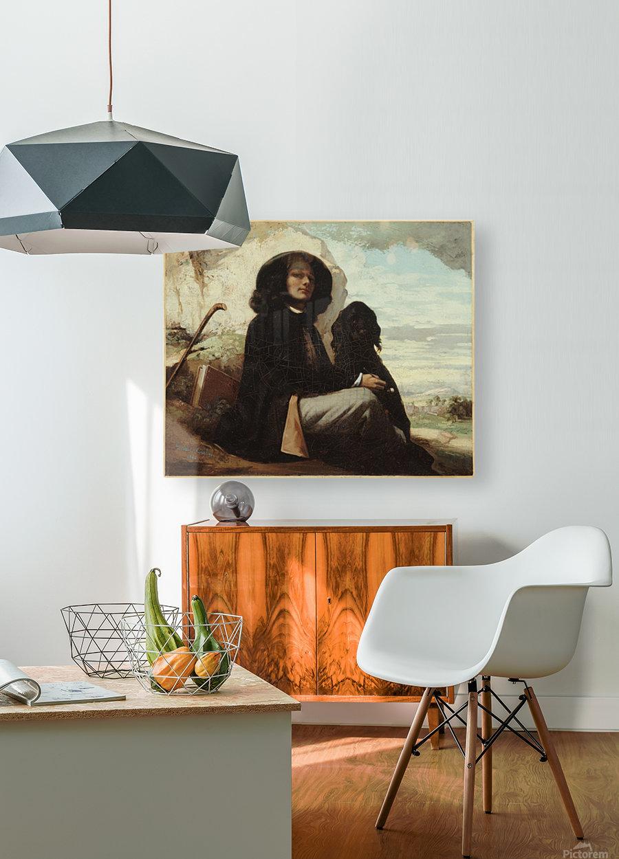 Autoportrait dit Courbet au chien noir  Impression métal HD avec cadre flottant sur le dos