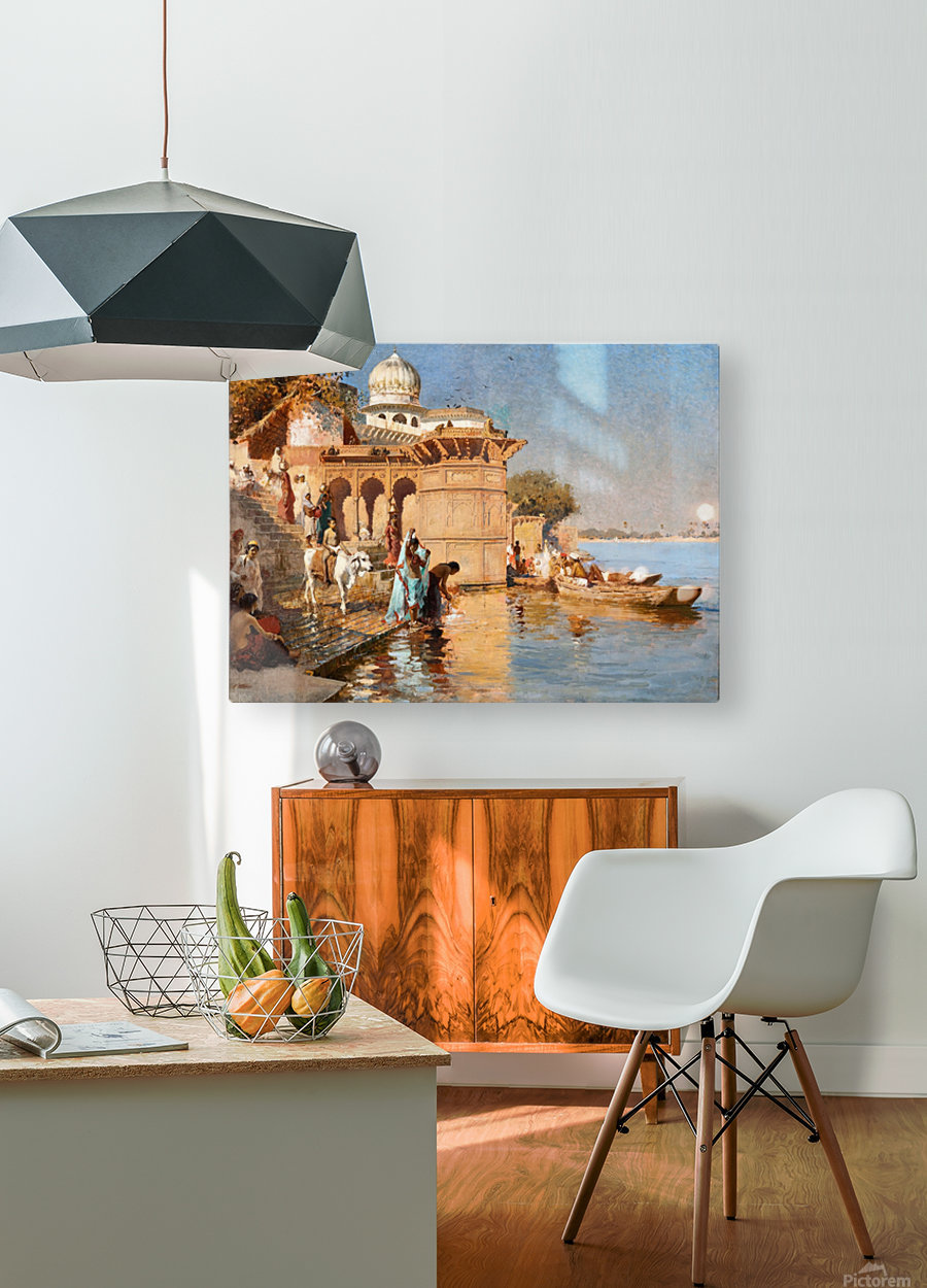 Along the Ghats, Mathura  HD Metal print with Floating Frame on Back