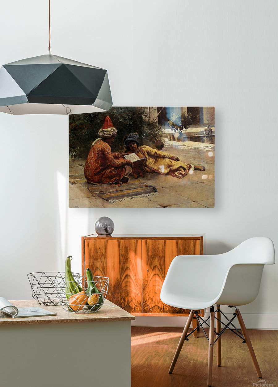 Two Arabs Reading  HD Metal print with Floating Frame on Back